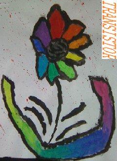 [Bild: Blume, Schriftzug Transistor]