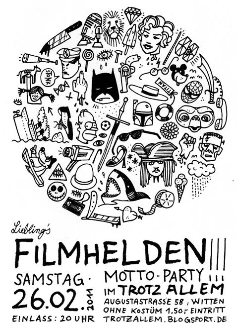 [Plakat: Filmhelden Motto-Party]