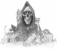 [Zeichnung: Tod mit Kätzchen und Rattentod]