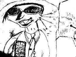 [Zeichnung: komischer Typ mit Fluppe]
